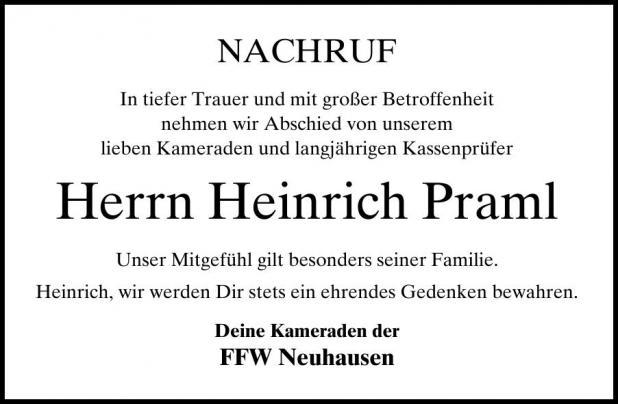 Nachruf Heinrich Praml